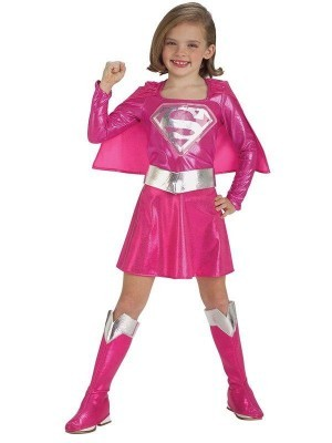 Kids Pink Metallic Supergirl Fancy Dress Costume