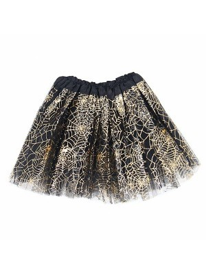 Kids -  Black & Shiny Gold Spider Web Halloween Tutu Skirt