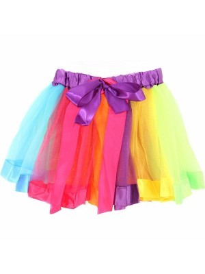 Kids - Unicorn Rainbow Tutu Skirt With Ribbon Bow
