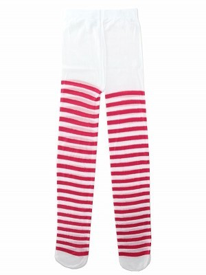 Kids Tights - Dark Pink & White Striped