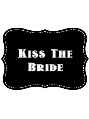 'Kiss The bride' Vintage Style Photo Booth Prop
