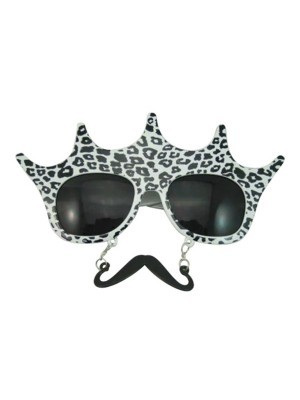 Leopard Print Crown Sunglasses With Moustache