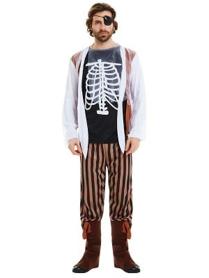 Male Crazy Zombie Pirate Halloween Fancy Dress Costume – One Size