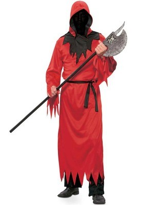 Hooded Red Fiend Halloween Fancy Dress Costume