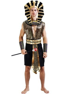 Male Luxury Black & Gold Egyptian Pharaoh Fancy Dress Costume – One Size