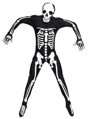 Male Skeleton Bodysuit Fancy Dress Costume