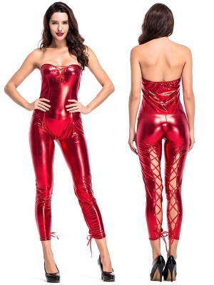 Metallic Red Devilish Shiny Jumpsuit Halloween Fancy Dress Costume – UK 8