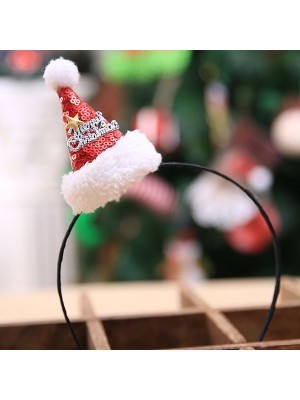 Mini Sequined Santa Hat with Merry Christmas Banner Headband