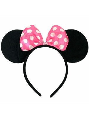Minnie Mouse Style Ears and Light Pink Bow
