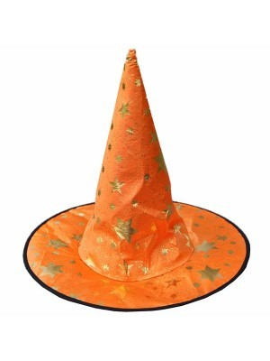 Orange & Gold Stars Wizard & Witches Pointed Hat Halloween Fancy Dress Accessory