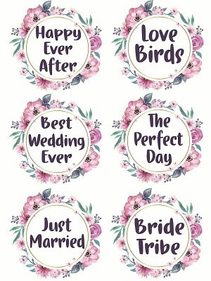Pack of 6 Flower Wreath Wedding Word Props Multi Pack