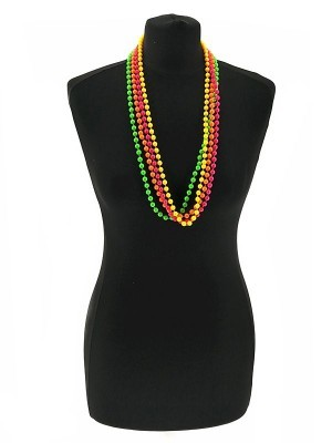 Pack of 4 80's Style Neon Bead Necklaces