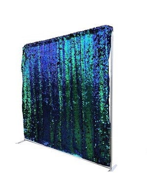 Peacock Blue & Green Sequin Backdrop