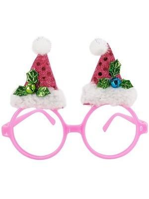 Pink Circle With Santa Hats Christmas Glasses