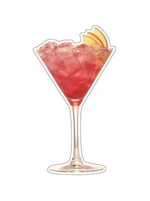 Pink Cocktail with Slices of Apple