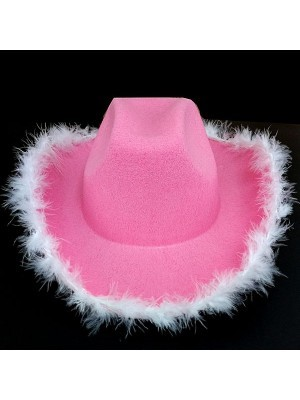 Pink Cowboy Hat with Feathers
