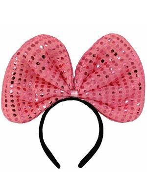 Large Light Pink Sequin Bow Headband