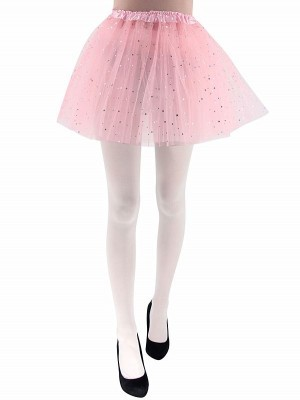Adult - Pink Tutu Skirt with Silver Stars