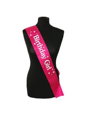 Pink With White 'Birthday Girl' Star Sash
