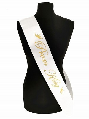 White With Gold Writing 'Prom King' Sash