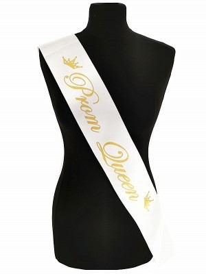 White With Gold Writing 'Prom Queen' Sash