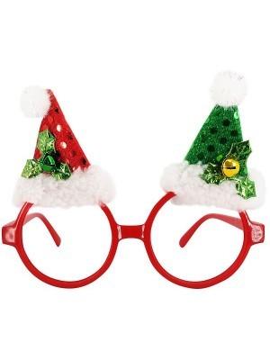 Red Circle With Santa Hats Christmas Glasses