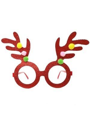 Red Glitter Reindeer Antlers Christmas Glasses