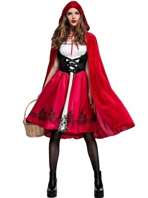 Sultry Hooded Red Cape and Dress Costume