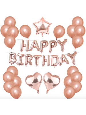 Rose Gold Heart Star 'Happy Birthday' Balloon Set