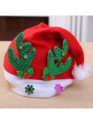 Santa Hat with Green Reindeer Antlers