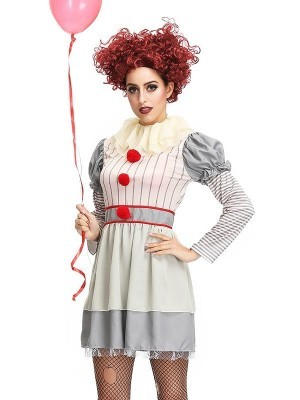 Scary Murderous Clown Women's Halloween Fancy Dress Costume