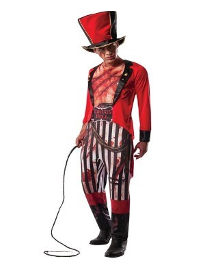 Scary Zombie Ringmaster Circus Performer Men's Halloween Costume
