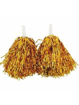 Set Of 2 Glitzy Cheerleader Pom Poms In Gold