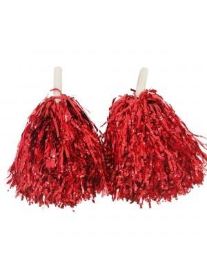 Set Of 2 Glitzy Cheerleader Pom Poms In Red