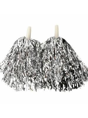 Set Of 2 Glitzy Cheerleader Pom Poms In Silver