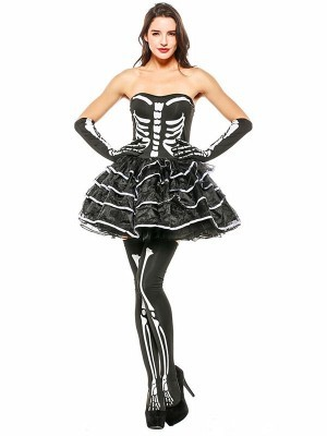 Sexy Skeleton Women's Halloween Fancy Dress Costume