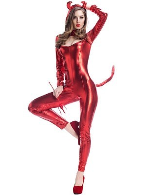 Shiny Devil Bodysuit Women's Halloween Fancy Dress Costume UK Size 12