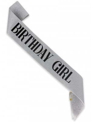 Luxury Silver Glitter With Black Foil 'Birthday Girl' Sash