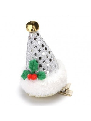Silver Sequin Top Hat Christmas Hair Clip