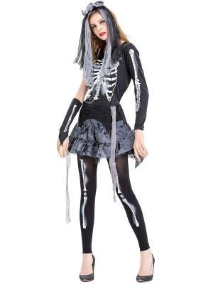 Skeleton Ghost Women's Halloween Fancy Dress Costume