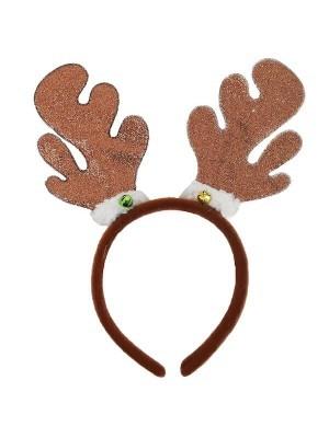 Sparkly Glitter Dark Brown Reindeer Antlers Headband