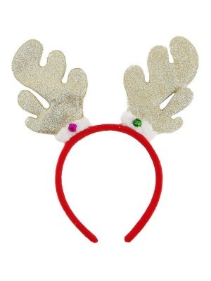 Sparkly Glitter Light Brown Reindeer Antlers Headband