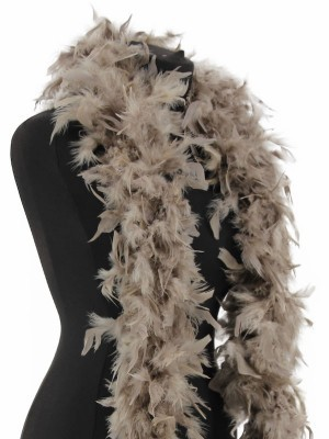 Luxury Stone Grey Feather Boa – 80g -180cm