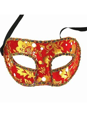 Venetian Embroided Red with Gold Detail Masquerade Mask
