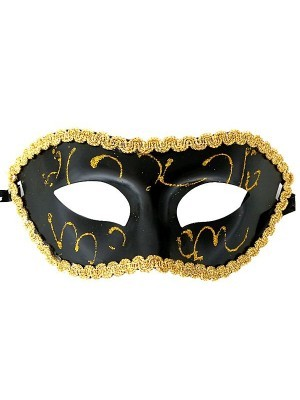 Shiny Venetian Black with Gold Detail Masquerade Mask