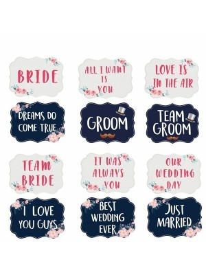 Set of 6 PVC Double-sided Wedding Photo Booth Props