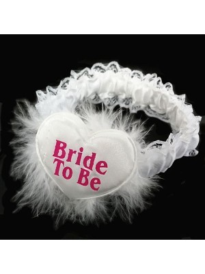 'Bride To Be' White Feather Garter