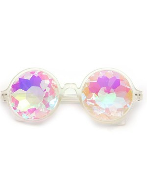 White Framed Dizzy Eye Kaleidoscope EDM Fun Party Happy Glasses