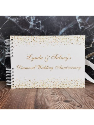 CUSTOM White & Gold Glitter Ombre Guestbook with Different Page Style Options