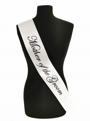 White With Black Writing 'Mother Of The Groom' Sash